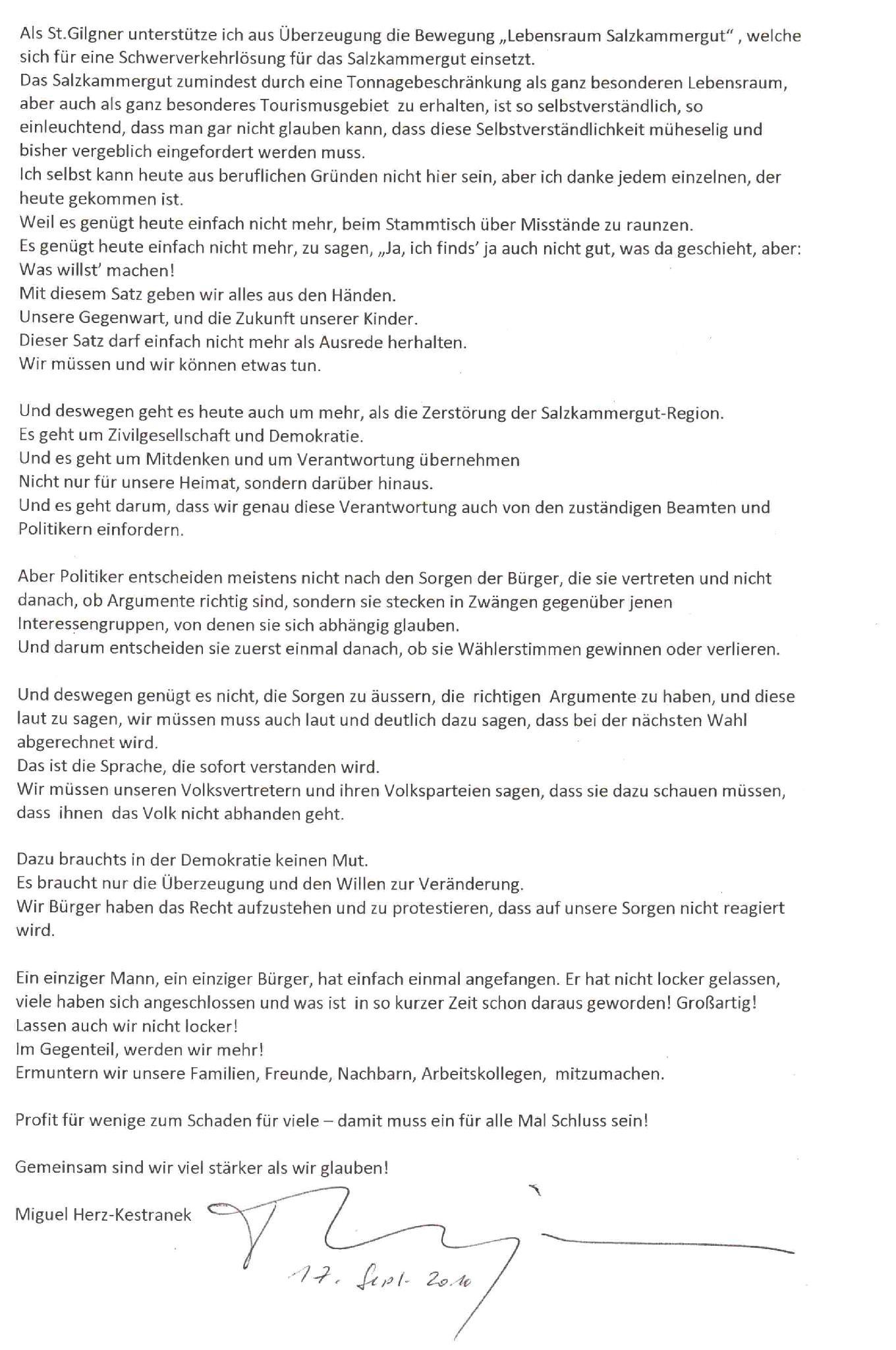 Botschaft von Miguel Herz-Kestranek an die Bewohner des Salzkammergutes